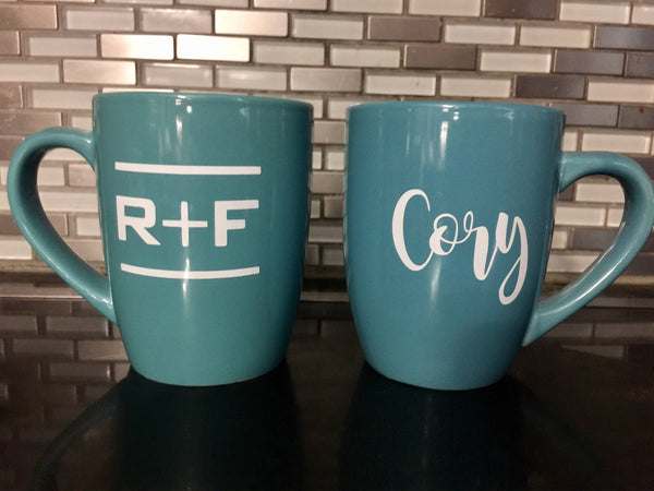 Rodan and Fields Mug, R + F, Coffee, PC gift, name, team name, Turquoise, personalized