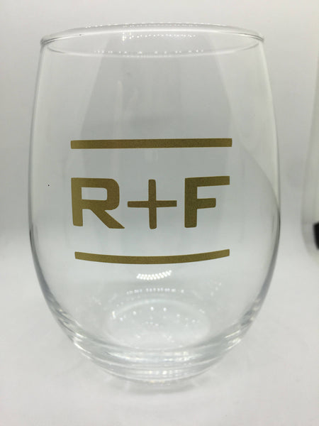 Rodan and Fields inspired Wine Glass, Thankful Gold R + F Up line, promotions, Rodan and Fields RF PC