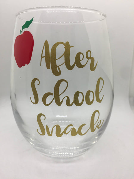 Teacher Gift, After school Snack Stemless Wine Glass, Teacher gift, holiday gift, apple, gold