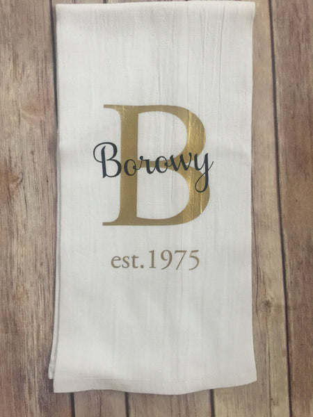 Personalized Tea Towel Name Tea Towels - Foodie Gifts, Hostess gift, Housewarming Gift, Custom last name Holiday Gift, Christmas gift