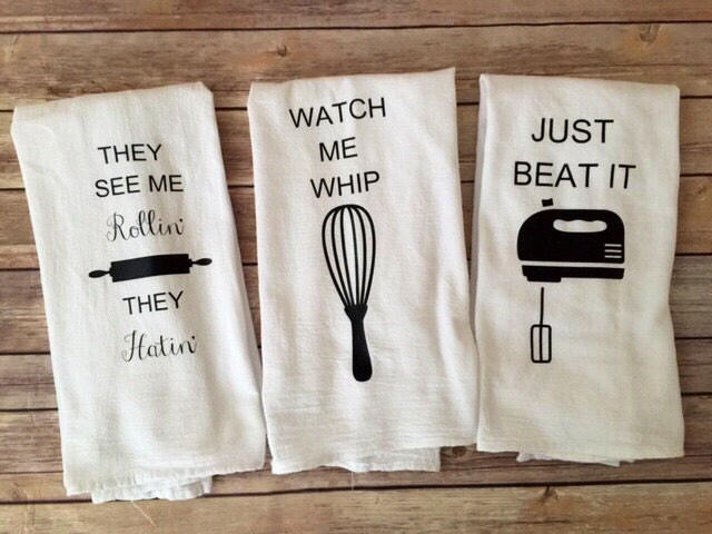 Set of 3 Custom Song Lyric Tea Towels - Watch me Whip, Just Beat it, They See me rollin'  Funny Tea Towels - Foodie Gifts