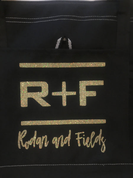 Rodan and Fields Tote Bag,  Swag Bag RF R+F  Rodan Fields,  PC gift, Black Gold glitter