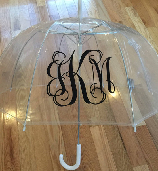 Monogrammed umbrella, personalized Umbrella, great gift, bridesmaid gift, dome umbrella Monogram Umbrella clear bubble wedding day