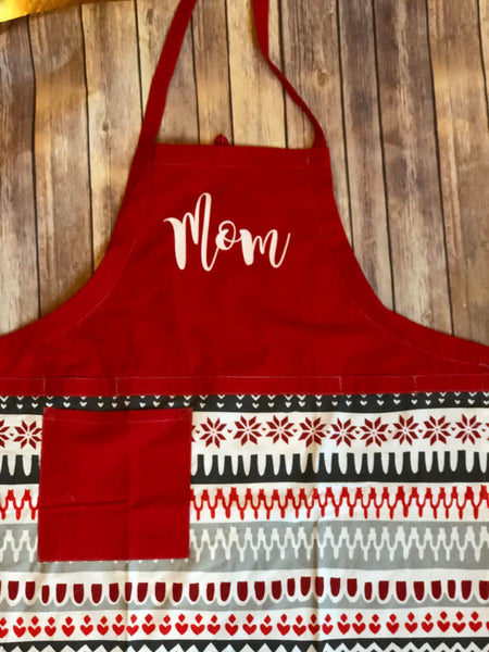 Holiday Child apron personalized chef hat Matching Apron Set, Child Chef hat, grandmom, Nana, Aunt, Baking, Holiday, Mother daughter