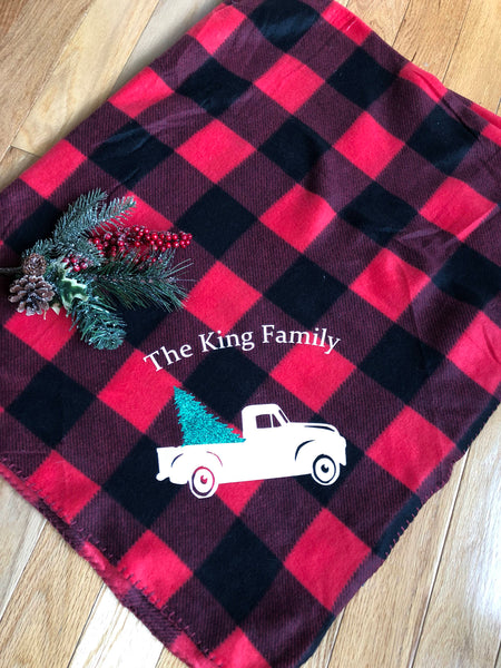 Buffalo Plaid Holiday Blanket, Christmas Throw, vintage truck, personalized fleece blanket 50 x 60 Family Name, Farm house Decor Sale