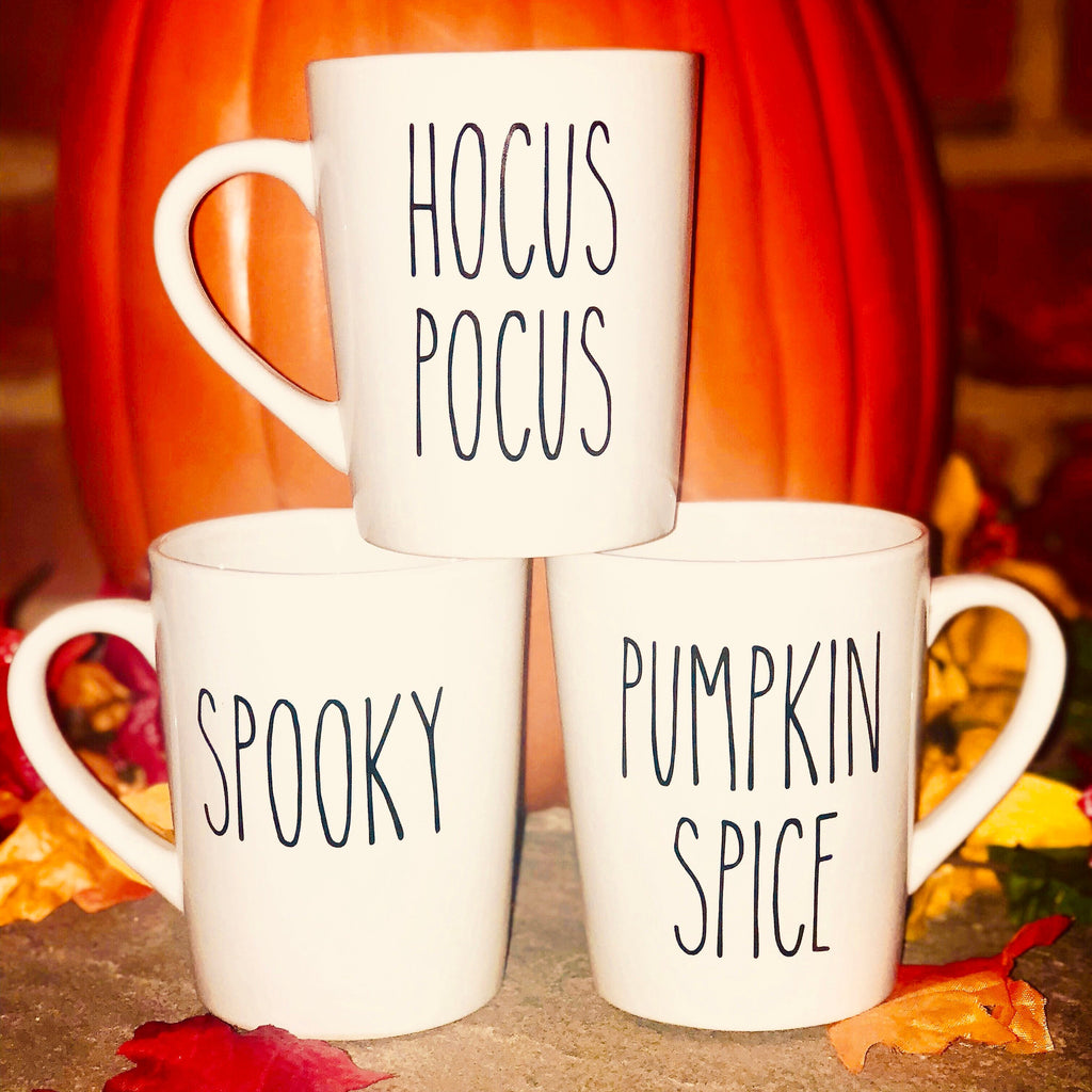 Rae Dunn Inspired Hocus Pocus Mug, Pumpkin Spice Mug, Spooky Mug, Fall Mug Set, PSL, Farm House, Gift for Her Autumn