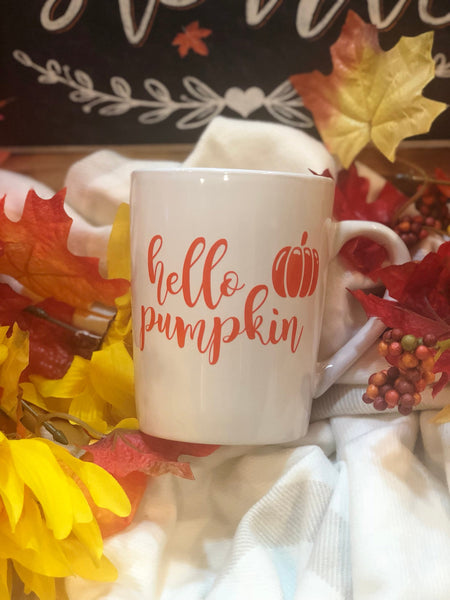 Hello Pumpkin Coffee Mug -Fall- PSL- Pumpkin Spice Latte - Autumn 14oz