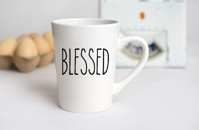 Rae Dunn Inspired Blessed Custom Mug, Farm House, Gift for Her, Personalize