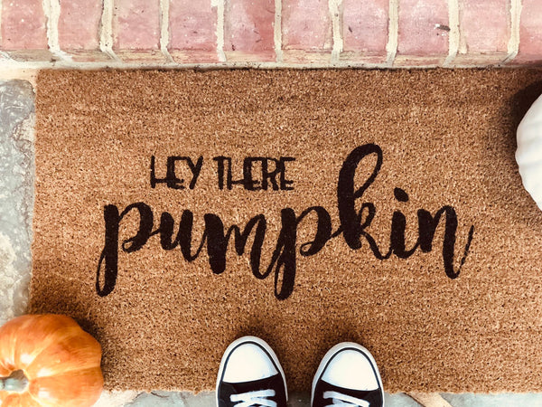 Hey there pumpkin door mat Thanksgiving - fall decor - welcome mat- custom - Autumn