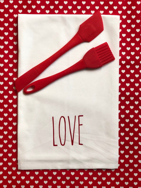 Rae Dunn Inspired Tea Towel Kitchen towel Valentines Day Farm House, Gift for Her, Personalize