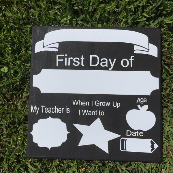 First day of school, last day of school dry erase reversible 12 x 12 wood sign, so cute, Photo Prop Mini Sessions, back to school Board