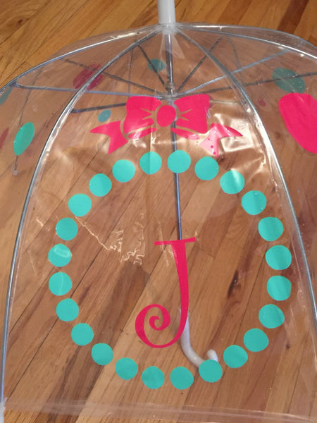 Personalized Clear Dome Umbrella Adult Size Monogrammed Bubble Umbrella pink mint