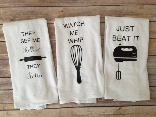 Your choice of 3 Custom Song Lyric Tea Towels Watch me Whip, Beat it, They See me rollin'  Funny Tea Towels Foodie Gifts, Bundts, screw it