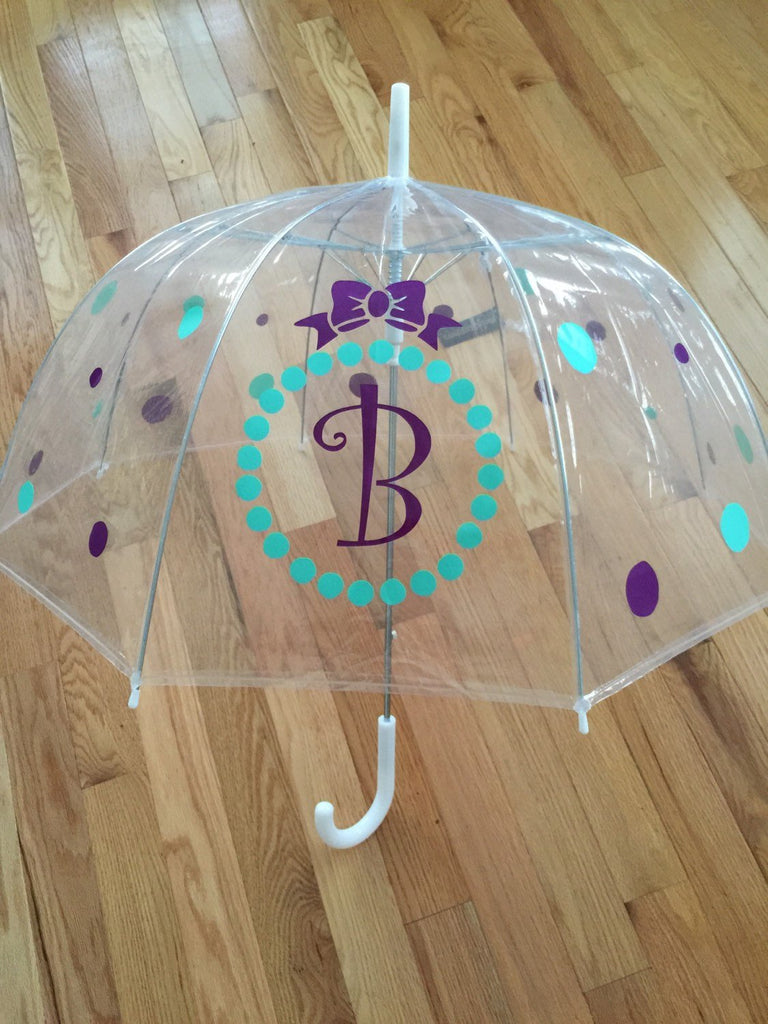 Monogrammed umbrella, adult & child size, personalized Umbrella, great gift Monogram Umbrella clear dome Purple teal