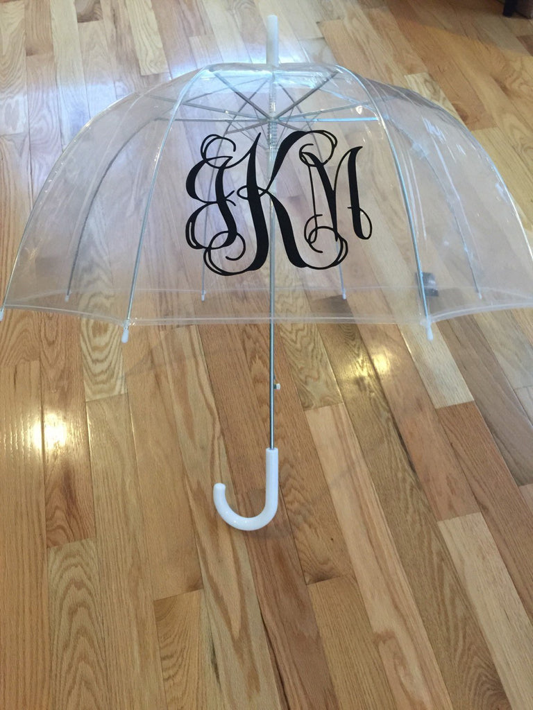 Monogrammed umbrella, adult & child size, personalized Umbrella, great gift, bridesmaid gift, dome umbrella Monogram Umbrella clear dome