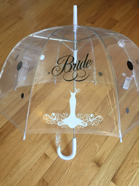 Bridal shower Decoration, wedding decor , mr & mrs umbrella, photography props prop Bride clear dome