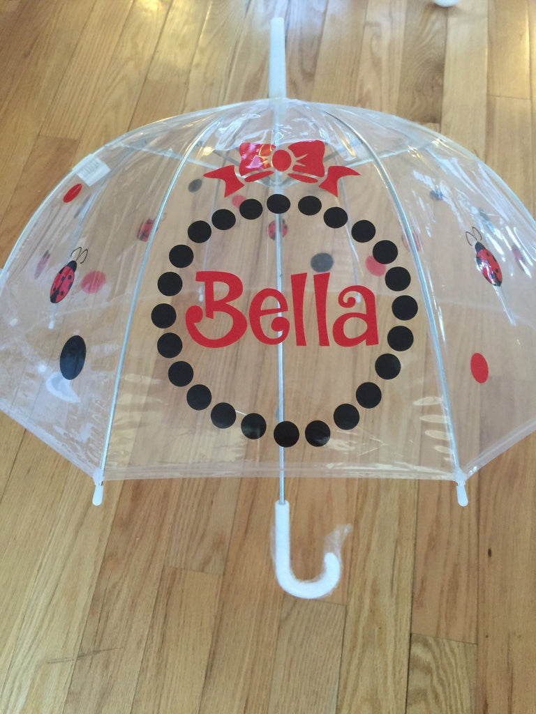 Ladybug name Monogrammed umbrella, adult & child size, personalized Umbrella, red black lady bug clear dome