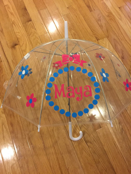 Flower name Monogrammed umbrella, adult & child size, personalized Umbrella, flowers pink blue white clear dome