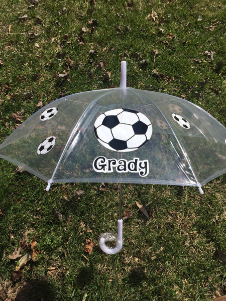 Soccer Sports Monogrammed name umbrella, adult & child size, personalized Umbrella, Monogram Umbrella, spirit , team name