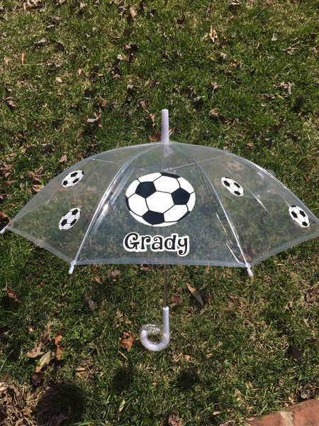 Sports Monogrammed name umbrella, adult & child size, personalized Umbrella, great gift Monogram Umbrella, spirit , team name Soccer