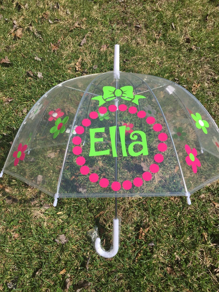 Monogrammed umbrella, adult & child size, personalized Umbrella, great gift Monogram Umbrella, clear dome, bubble flowers