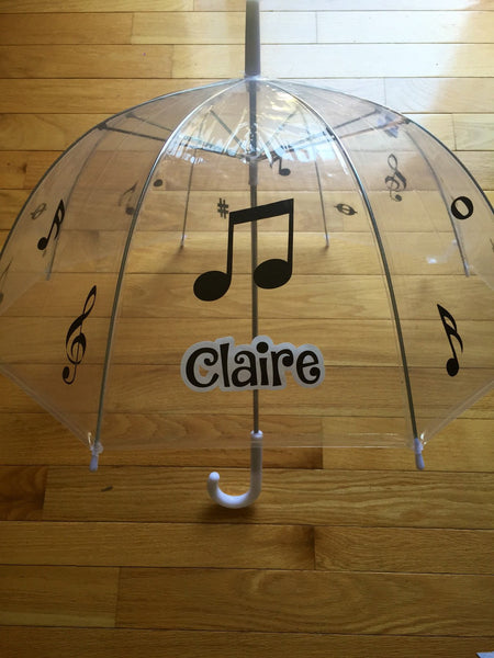 Music Monogrammed umbrella, adult & child size, personalized Umbrella, great gift Monogram Umbrella, clear dome musical