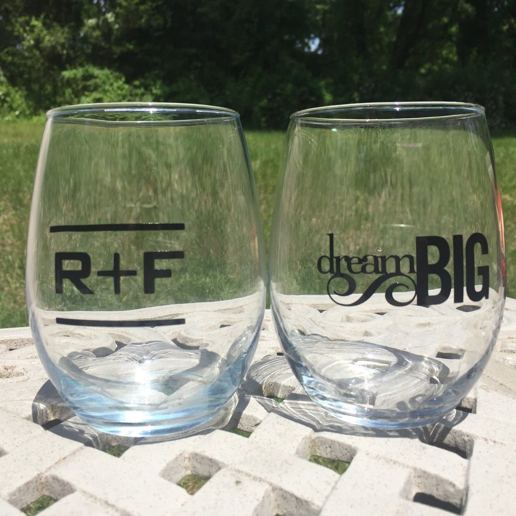 Set of 2 Rodan + Fields inspired Wine Glass, Dream Big, R + F Up line, promotions, Rodan and Fields RF PC
