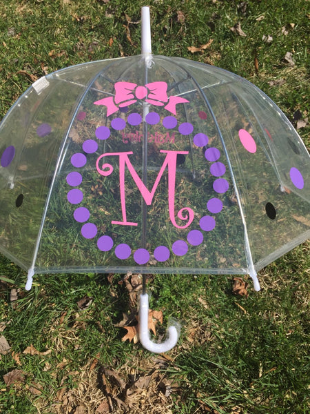 Monogrammed umbrella, adult & child size, personalized Umbrella, great gift Monogram Umbrella, clear dome, bubble