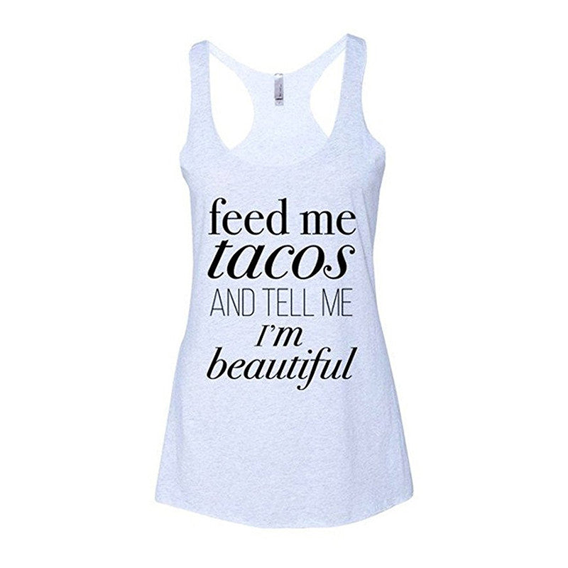 Feed me Tacos Women Loose TShirt Casual Sleeveless Tank Tops Summer