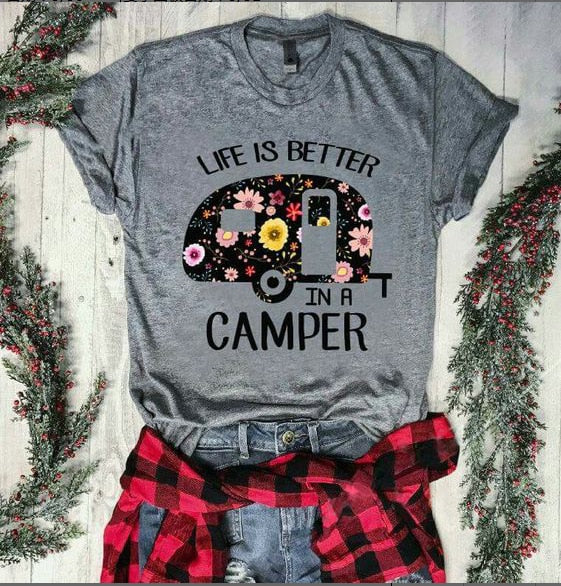 Camper T-shirt fashion women shirt graphic tees life is better tops