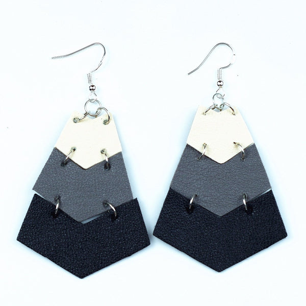 Fan-Shape Doubles White with Black Stripes Leather Earrings Ethnic Handmade Dangle Drop Earring For Women