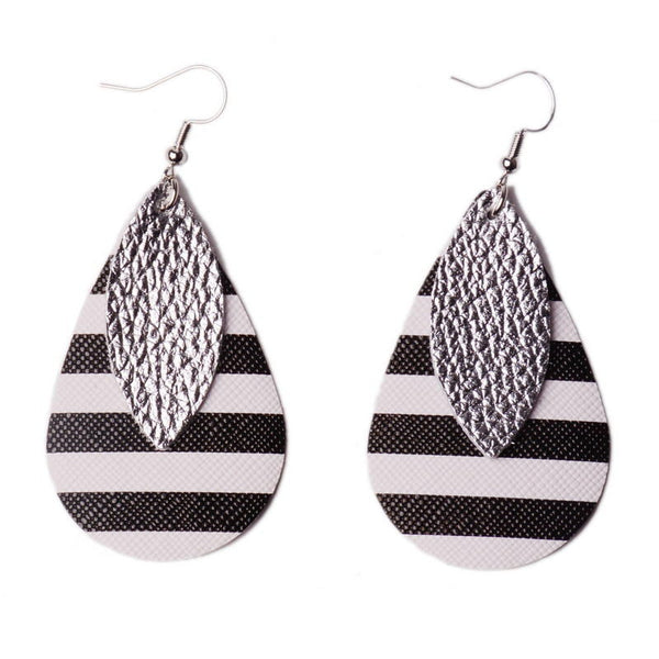 Striped Leather Double Earrings for Women Black and White PU Striped Drop Shaped Earrings Sequins Leather Leaf Earring Accessory