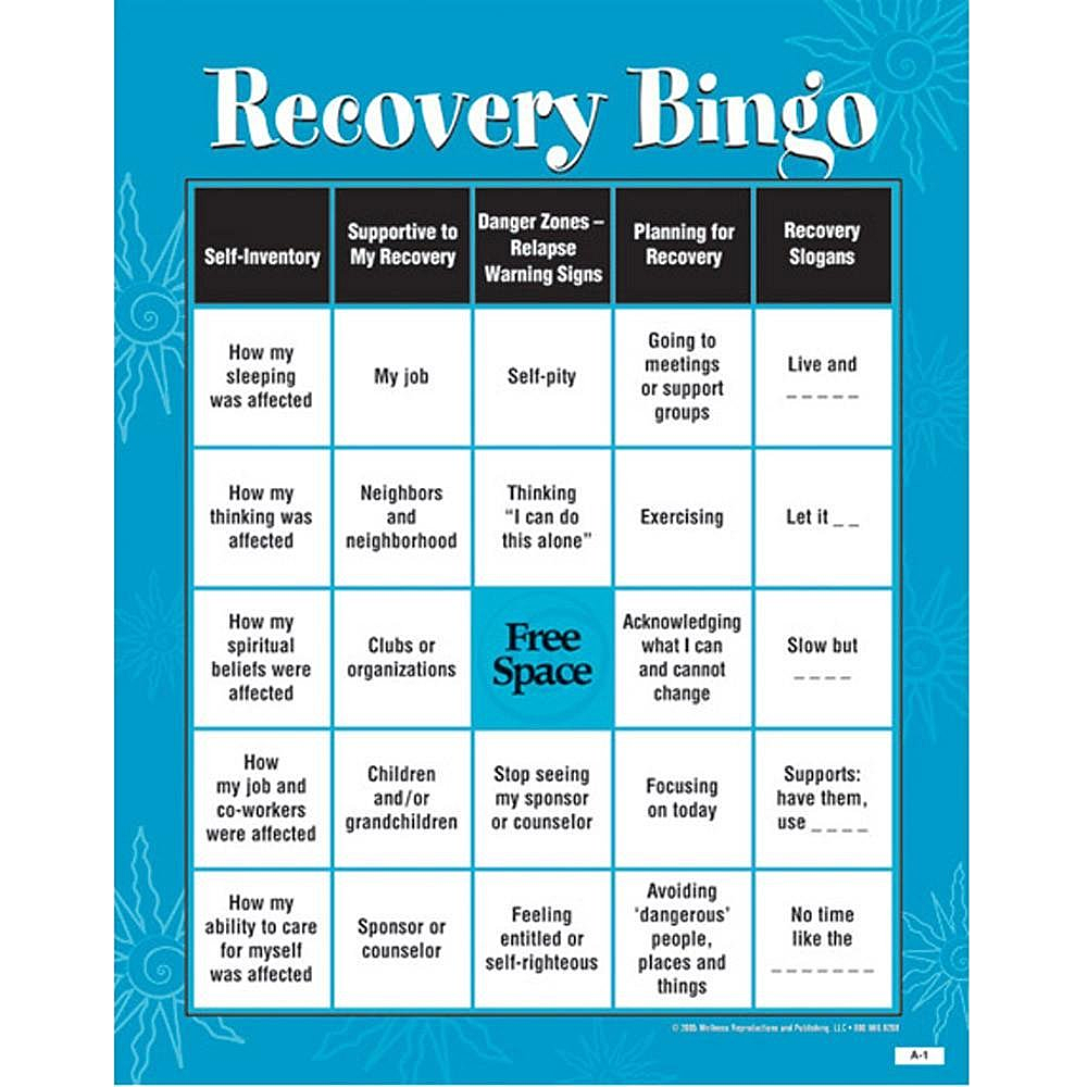 Recovery Bingo Game for Adults