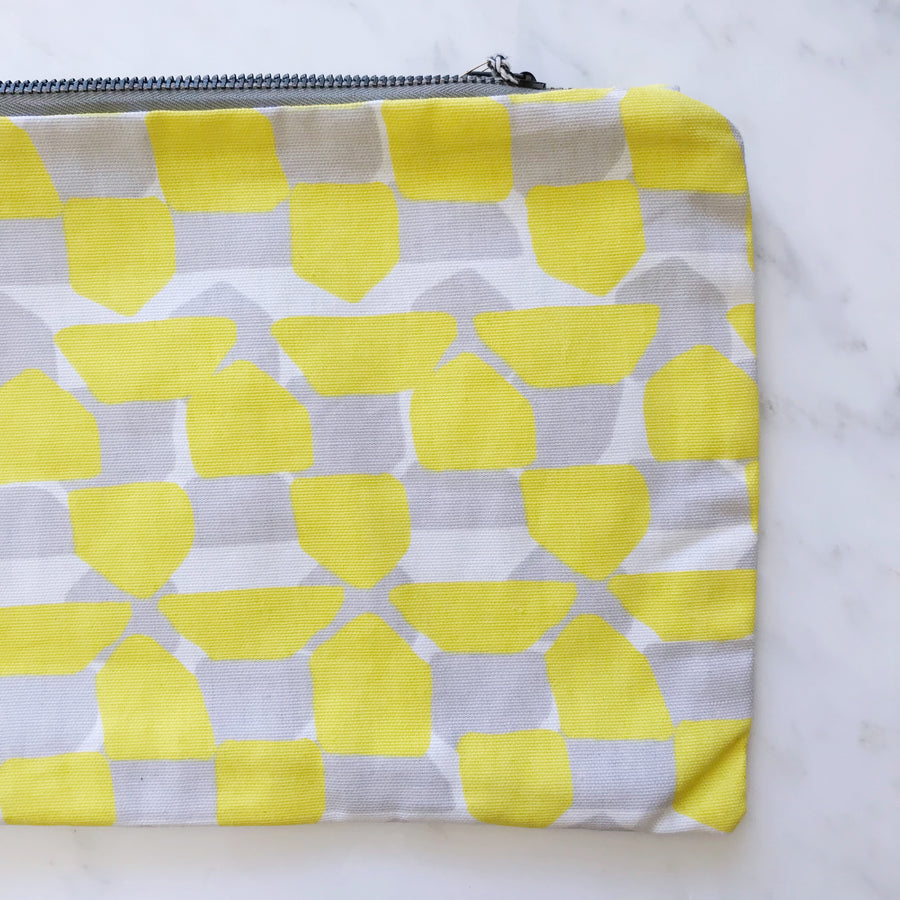 yellow + gray clutch