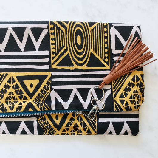 tribal print clutch