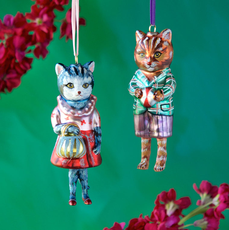 Nathalie Lété Dressed Cat Ornament (2 Assortment)