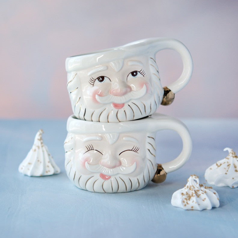 Papa Noel Mugs, Cream, set of 2