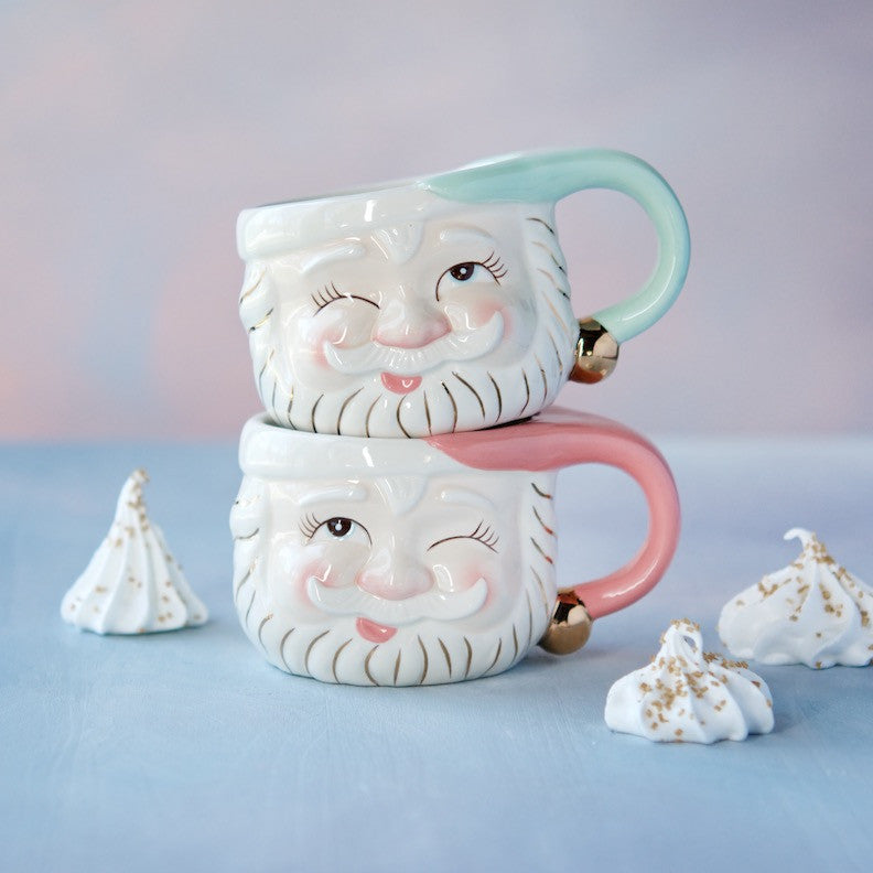 Papa Noel Mugs, Mint & Pink, set of 2
