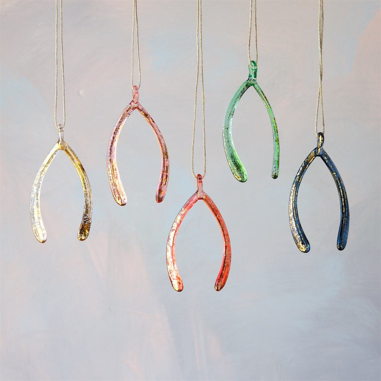 Glass Wishbone Ornament