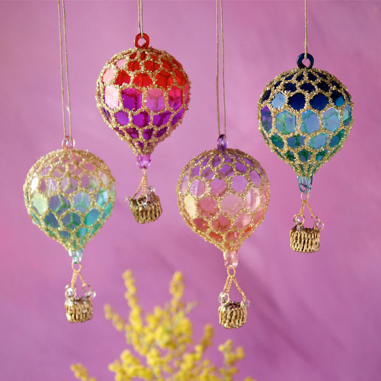 Honey Comb Hot Air Balloon Ornament