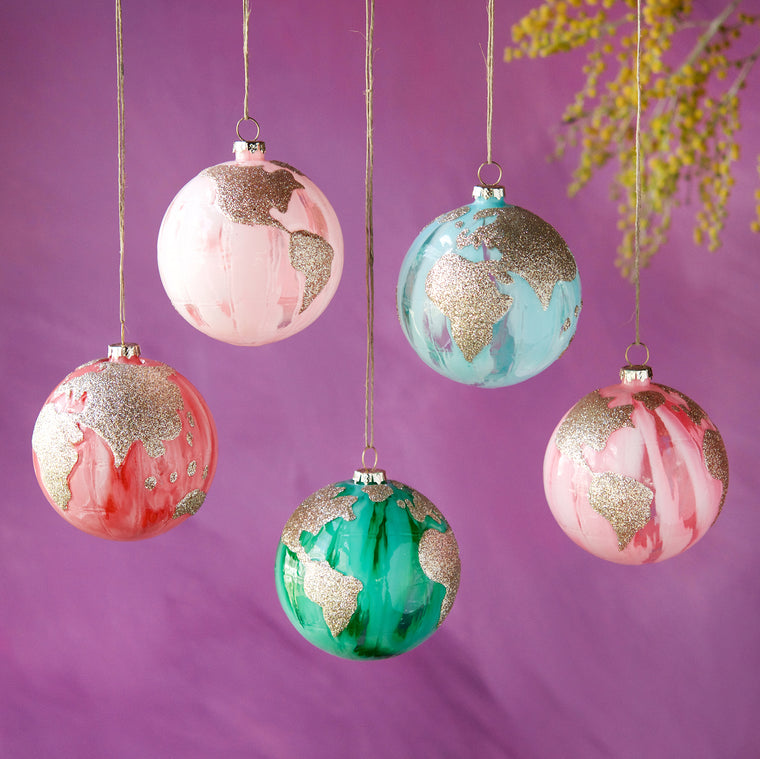 Marble Earth Ornament (5 Assortment)