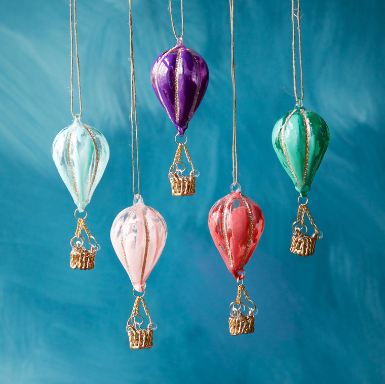 Marbled Hot Air Balloon Small Ornament (5 Assortment)