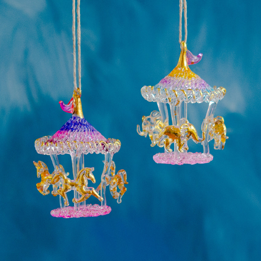 Unicorn & Elephant Carousel Ornament
