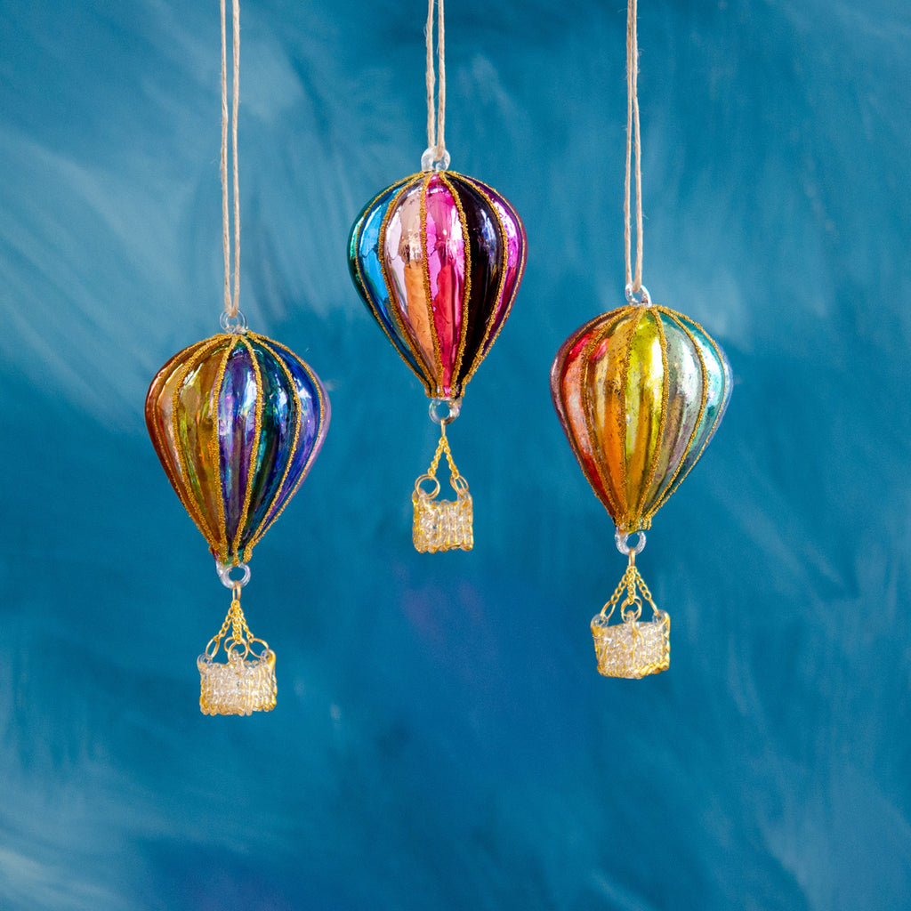 Rainbow Hot Air Balloon Ornament