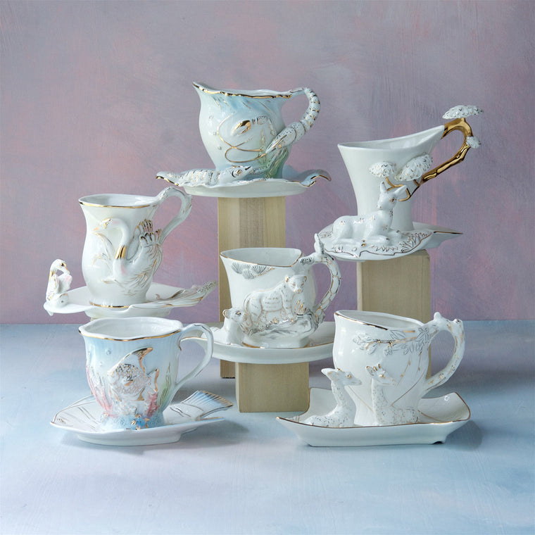 Whimsically Wild Tea Cups & Saucers