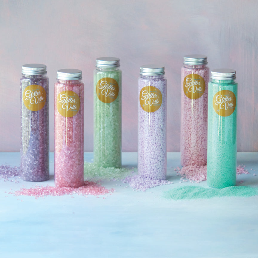 Pastel Glitter Crystals in Container