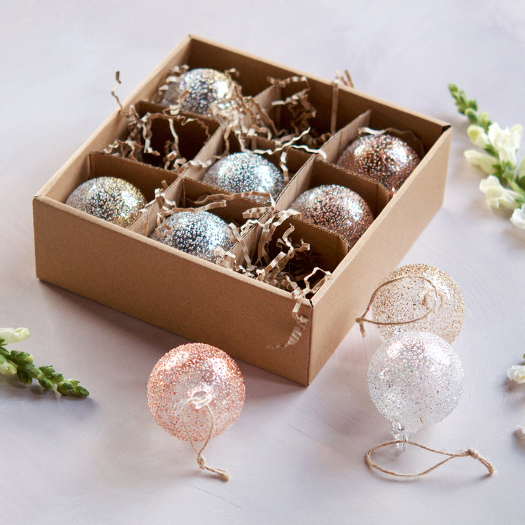 Metallic Stubble Ball Ornament, Boxed Set