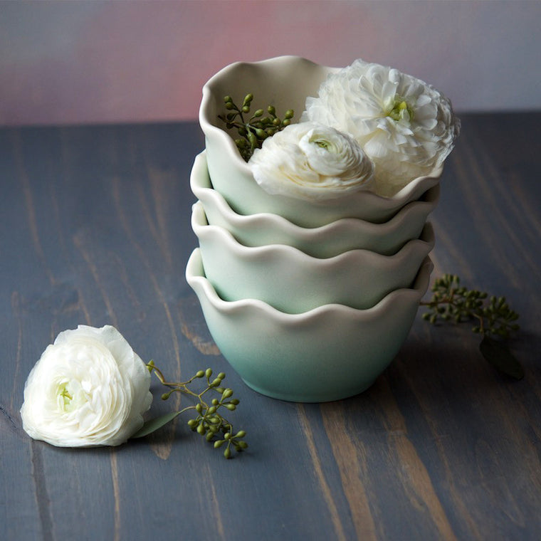Mint Ruffle Bowl
