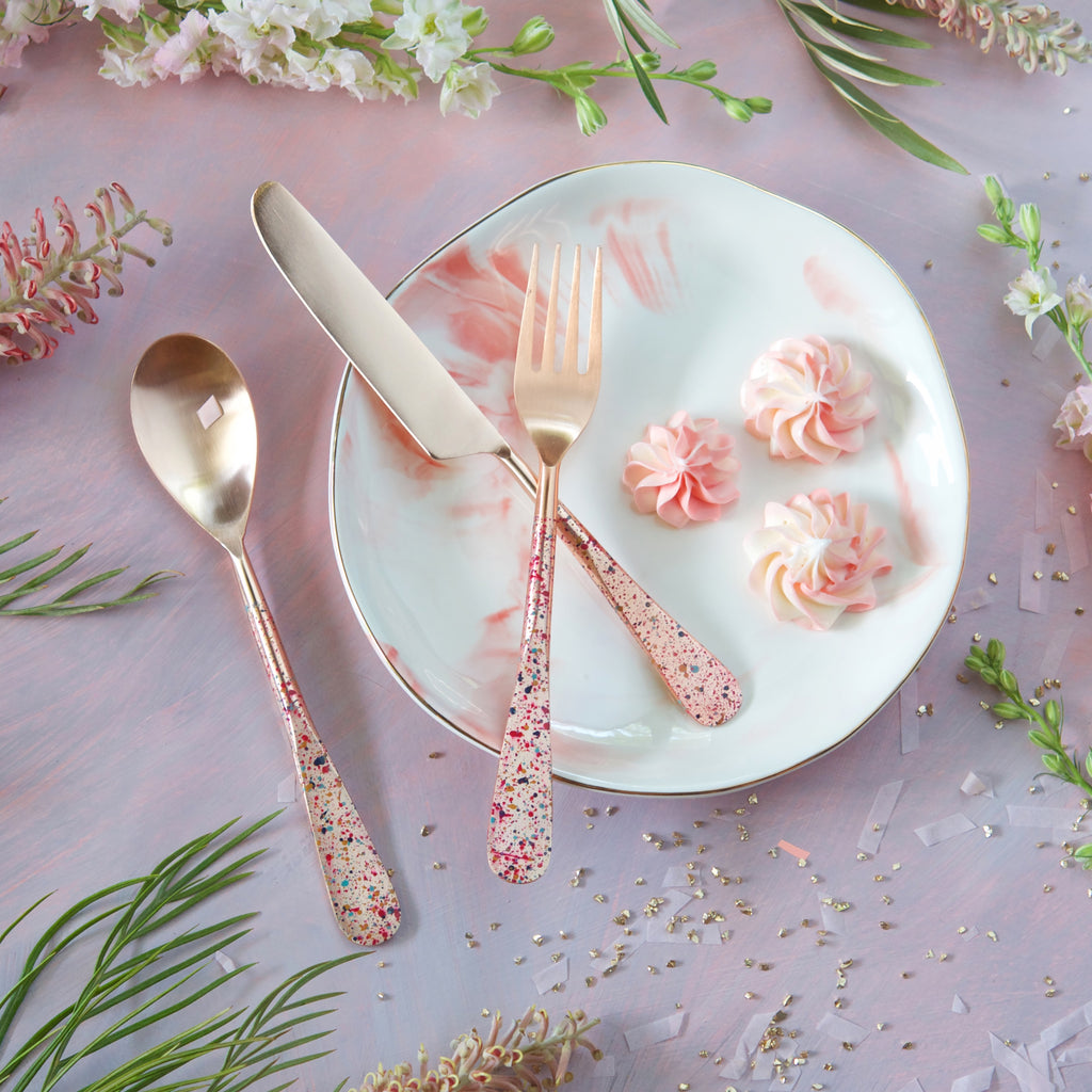 Rose Gold Speckled Flatware, Set of 3