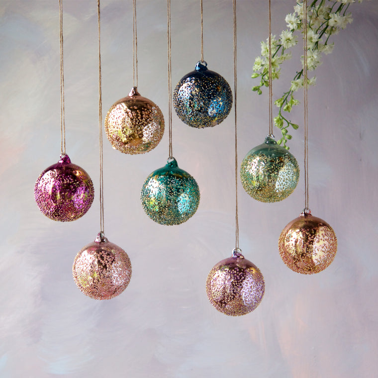Metallic Stubble Ball Ornament